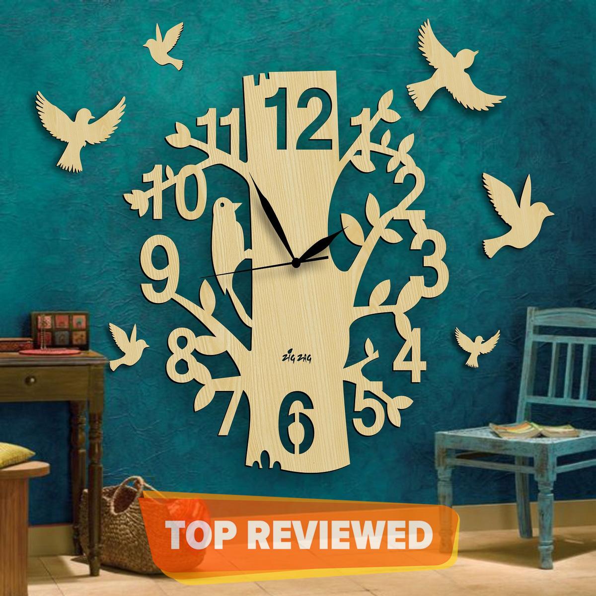 BIG Modern Style Tree with Branches & Bird Design 3D Wall Clock, Laser Cut Wall Clock, 3D Kids Room Wall Hanging Clock