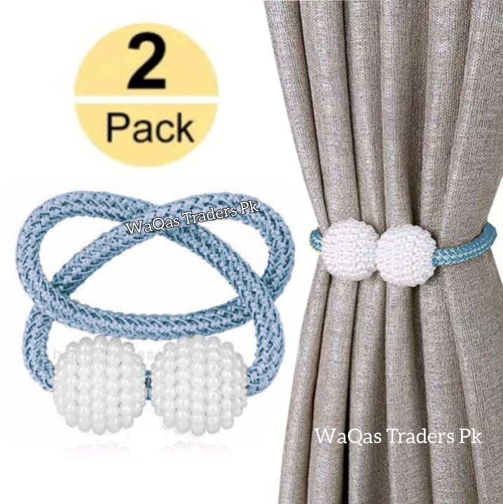 2 PCS Magnetic Pearl Curtain Buckle Magnetic Curtain Tiebacks Convenient Drape Tie European Style Decorative Weave Rope Curtain Rings & Buckles Holder for Window Sheer Blackout Draperies, Braided Straps Ball Buckles,  Parday