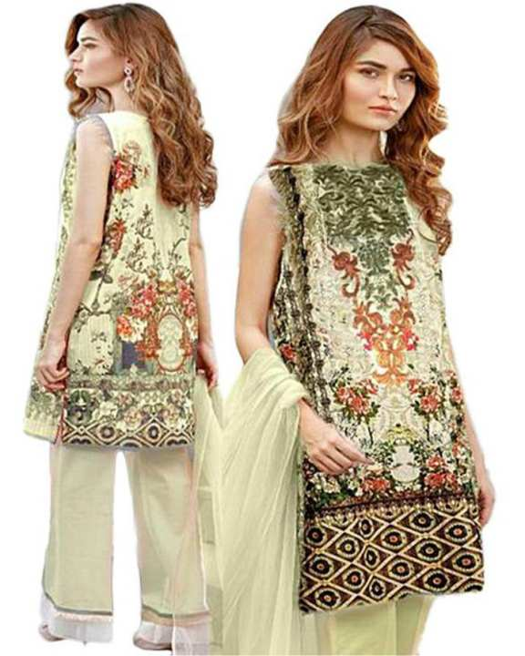 Cream Green Floret Lawn Unstitched Suit - 3Pcs