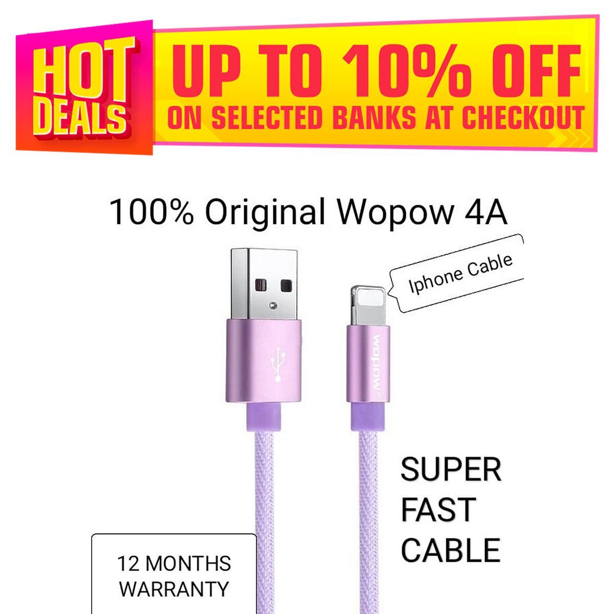 101% Original WOPOW 4A Pure Copper woven Fabric Wire Fast Iphone Charging + Data Cable For All Iphone Devices