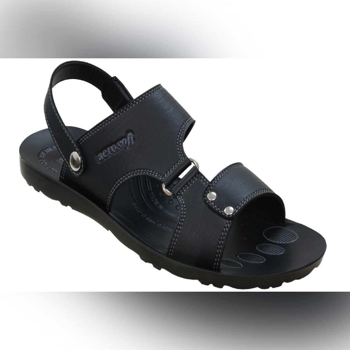 Aerosoft Black Synthetic Leather Sandals For Men P0111