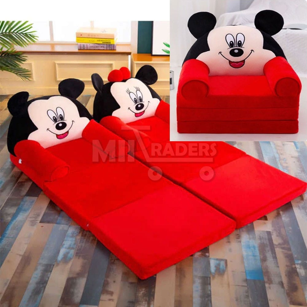 High Quality Multi-Function Imported Folding Kids Sofa Cam Bed Baby Comfy Foldable Sofa Floor Seat Child Back Support Cartoon Children Chair Baby Boy Girl Easy Washable - Comfortable Mickey Minnie Mouse Prince Princess Seater