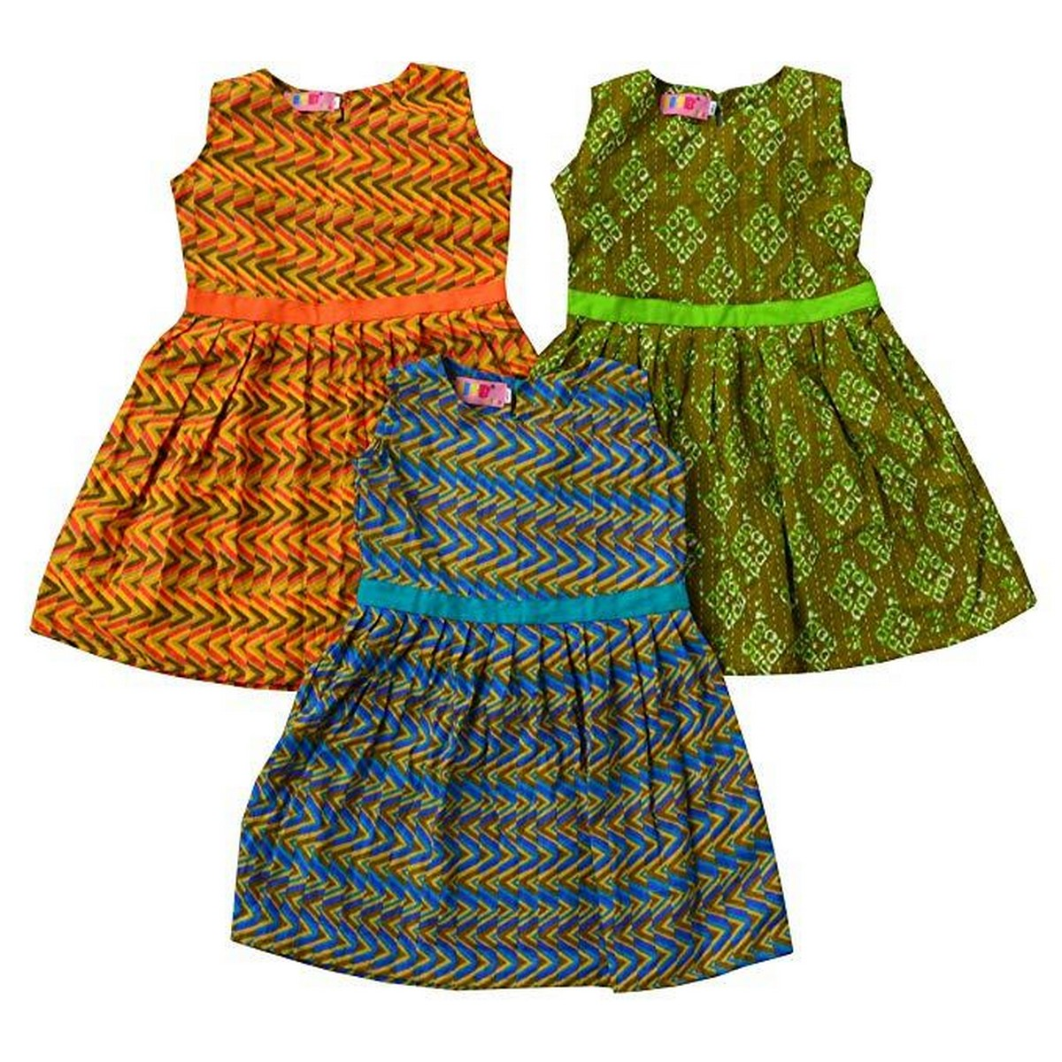 Pack Of 3 Premium Quality Ruffle Frock Multi color & Multi-printed-1 To 8 Years