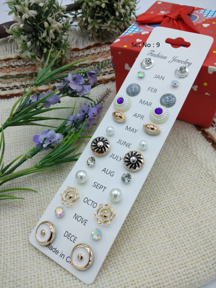 New Ear Rings Set Of 12 Pairs For Girls Fashion Ear Rings Tops Studs Jan To Dec