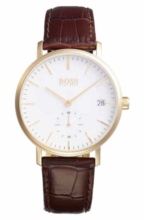Brown Leather Strap Watch For Boys