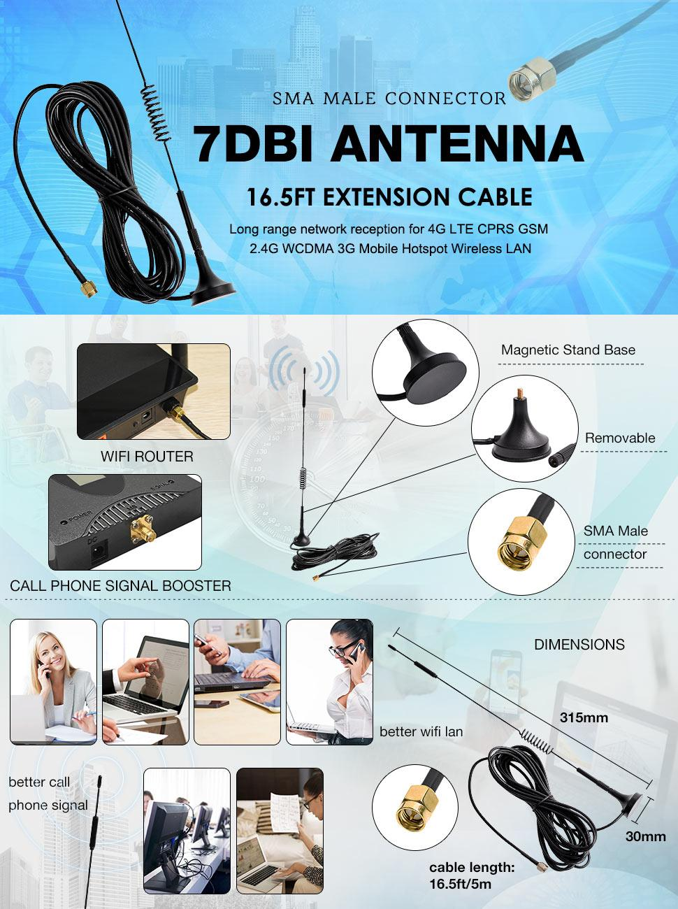 7DBi Magnet Antenna High Gain 4G LTE CPRS GSM 2 4G WCDMA 3G Antenna For  Wifi Signal Booster, Amplifier, Modem, Directional Adapter, Network  Reception,