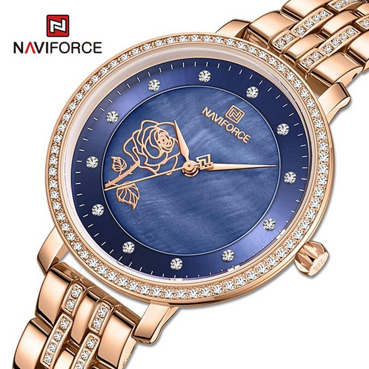 Naviforce Luxury Brand Female Fashion Quartz Stainless Steel Waterproof  Wrist Watch-NF5017