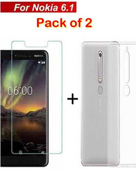 Nokia 6.1 - Pack Of 2 - Glass Protector And 1 Mm Jelly Cover