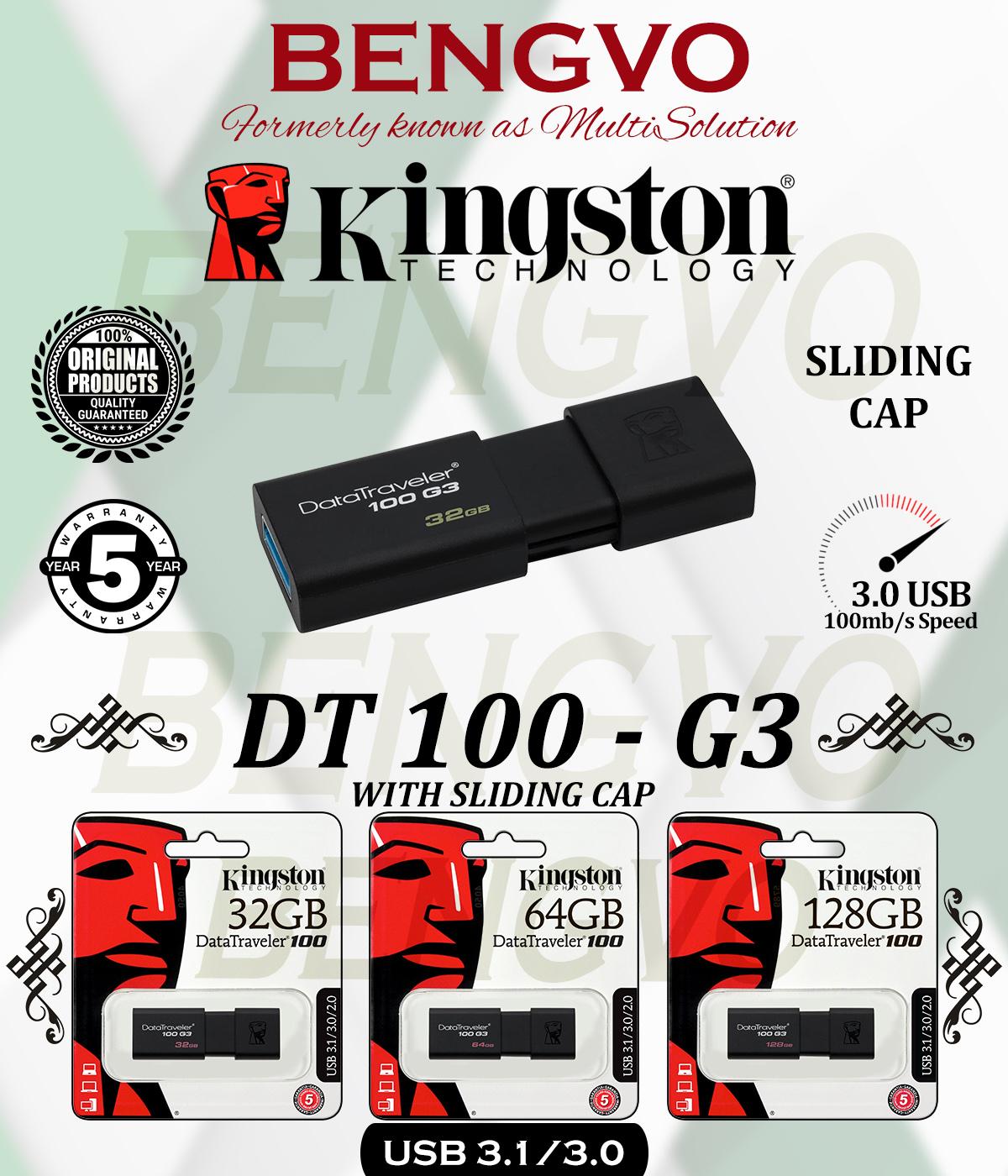 KINGSTON DT100 G3 3.0 USB FLASH DRIVE - 32GB - 64GB -128GB - 5 Years Warranty