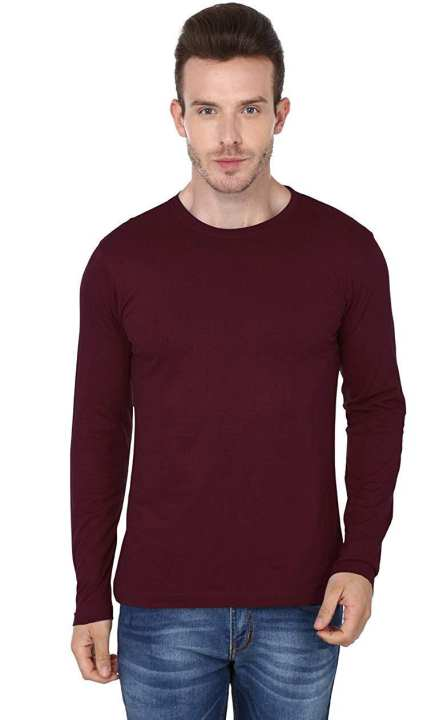 Round neck Long sleeves Maroon