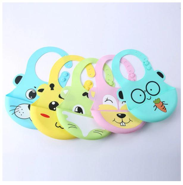 Cartoon Baby Silicone Bibs Waterproof Toddler Kids Adjustable Food Bib Baby Feeding Stuff Burp Cloth Boy Girl Bibs