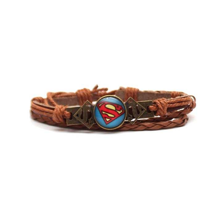 Light Brown Round Superman Charm Bracelet