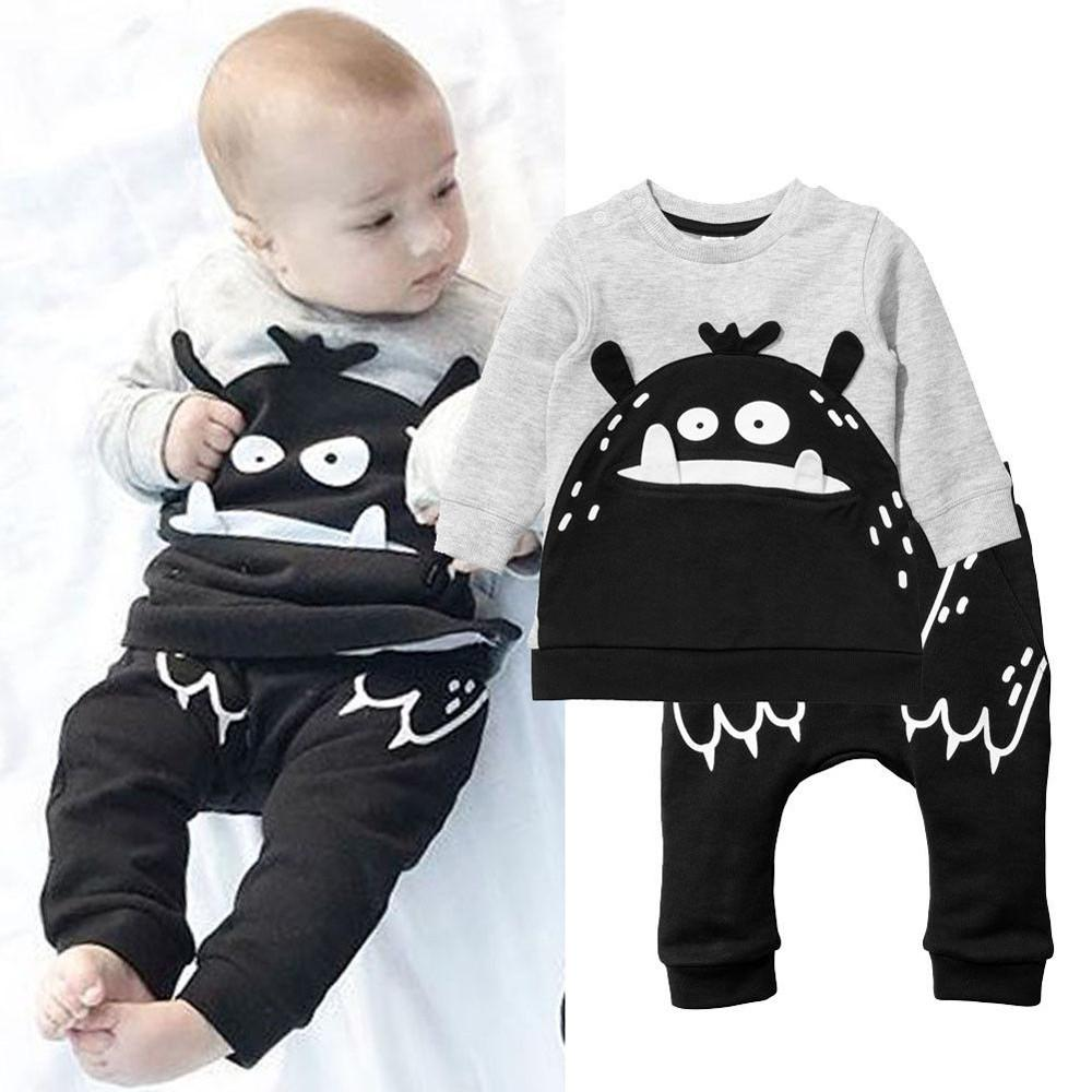 05c6bdb95 Stonershop Newborn Infant Baby Boy Cartoon T shirt Tops Pants 2PCS Clothes  Outfits Set