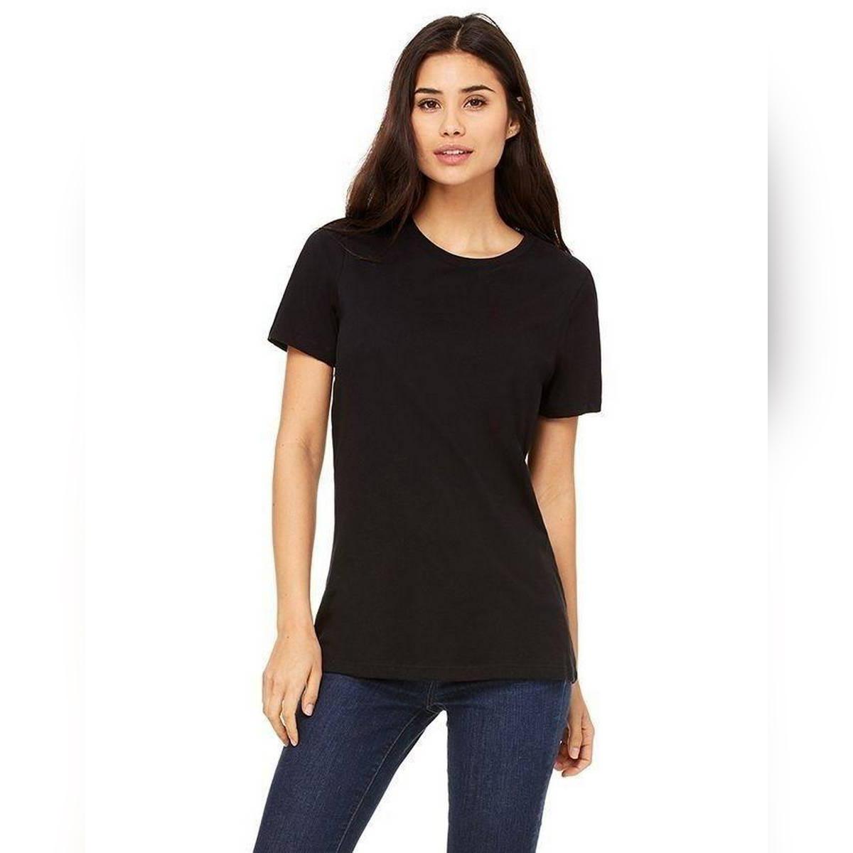 Plain Cotton TShirt For Women - Black