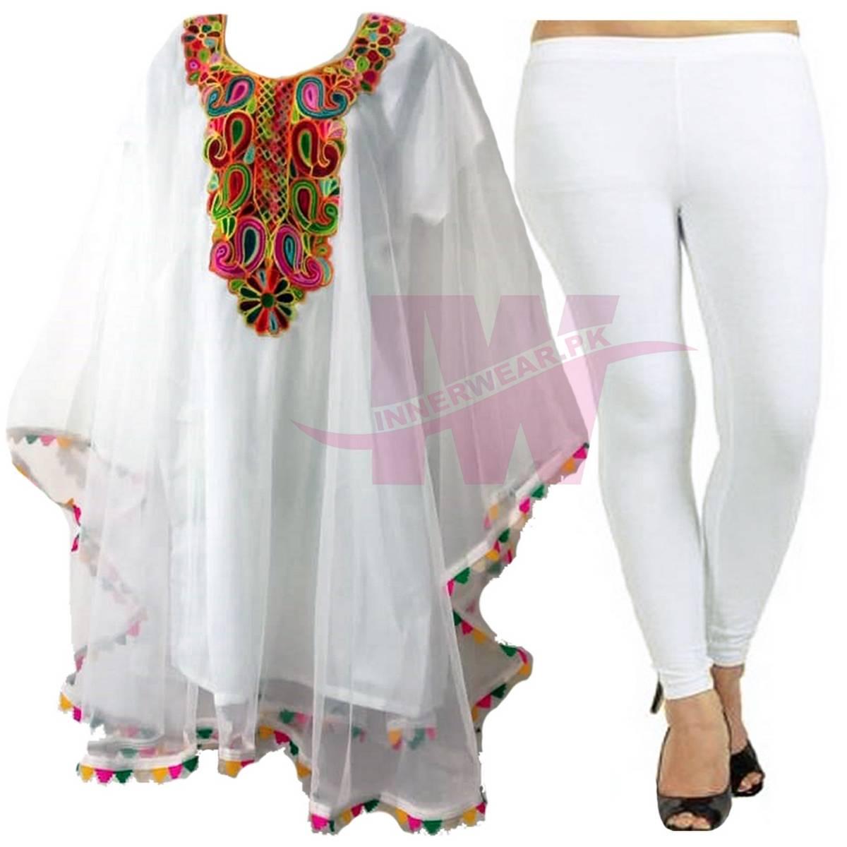 Women Ladies Girls Pure Net Kurti Kaftan Shirt Frock Top Kameez Poncho With Matching Cotton Tights Legging Special Event Eid Dress Party Wear Wedding Wear Free Size