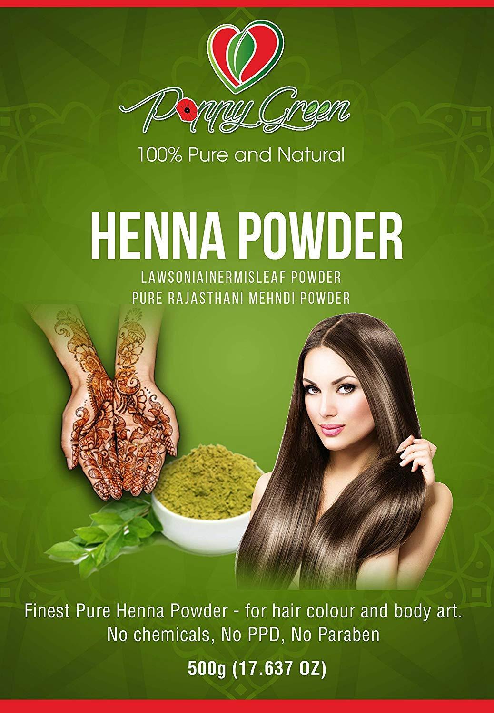 Pure Henna Powder For Hair Dye - Poppy Green (500g)