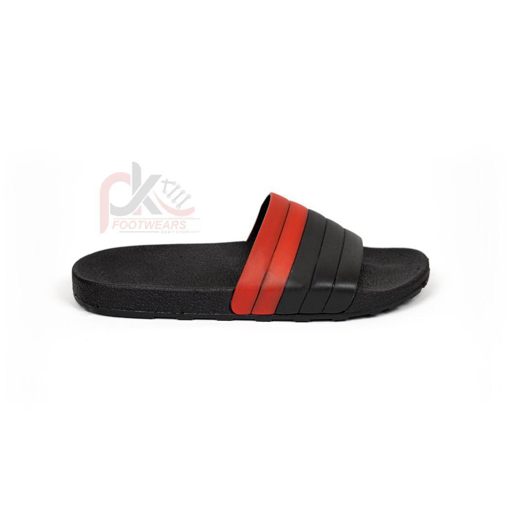 Slippers for Men with Rubber Sole Black & Red Slides for Men, Non-Slippery Flip Flop for Men