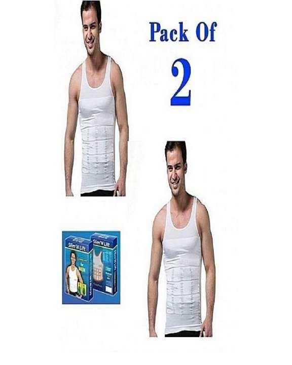 Pack Of 2 - White Nylon Slim N Lift Slimming Vest For Men