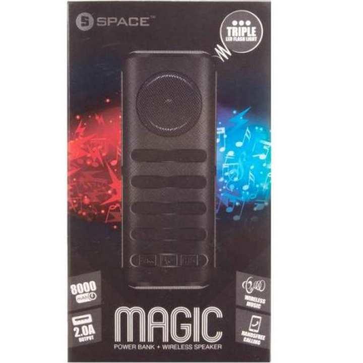 Space MAGIC MG-090 8000 mAh Power Bank + Wireless Speaker, LED Torch + Mp3