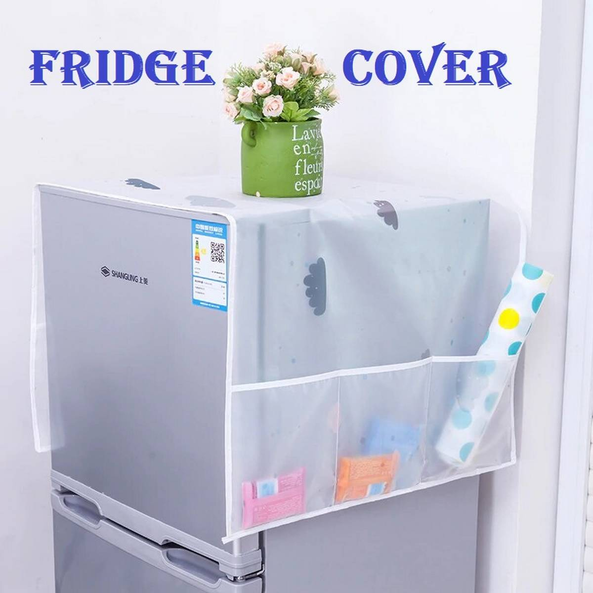 Printed Fridge Dust Cover Waterproof Refrigerator Dustproof Cover with 6 Pocket Household Freezer Top Hanging Bag Fridge Storage Bag Appliance Protector Organizer Washing Machine Top Cover