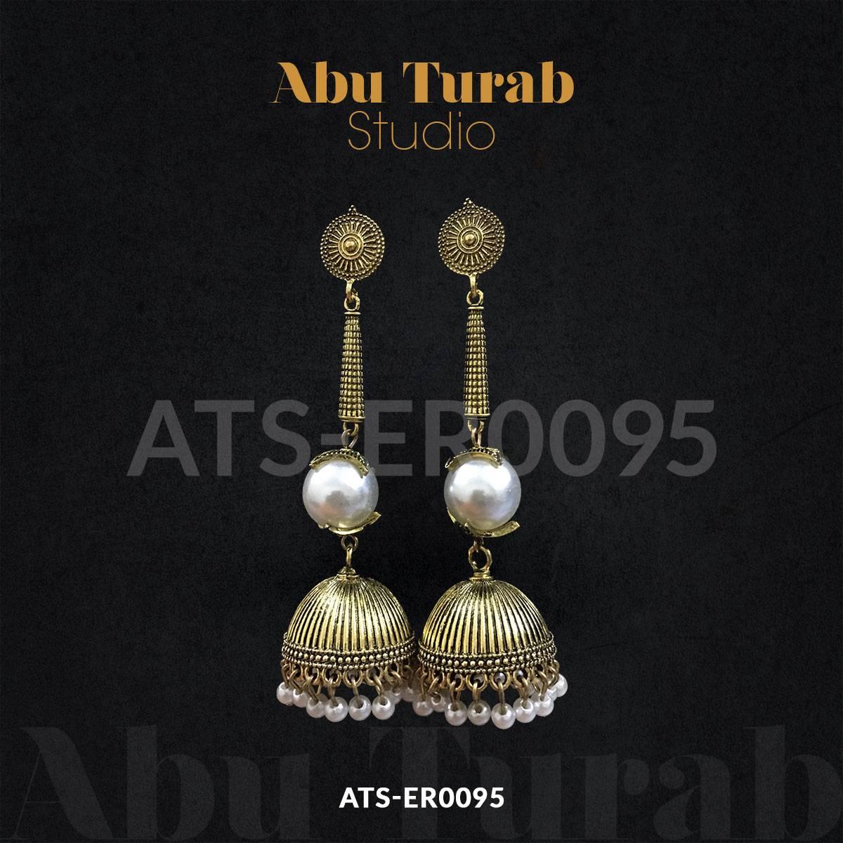 Abu Turab Studio - Trendy Long Big Pearl Jhumka Earring With Rose Gold Hanging Pearl