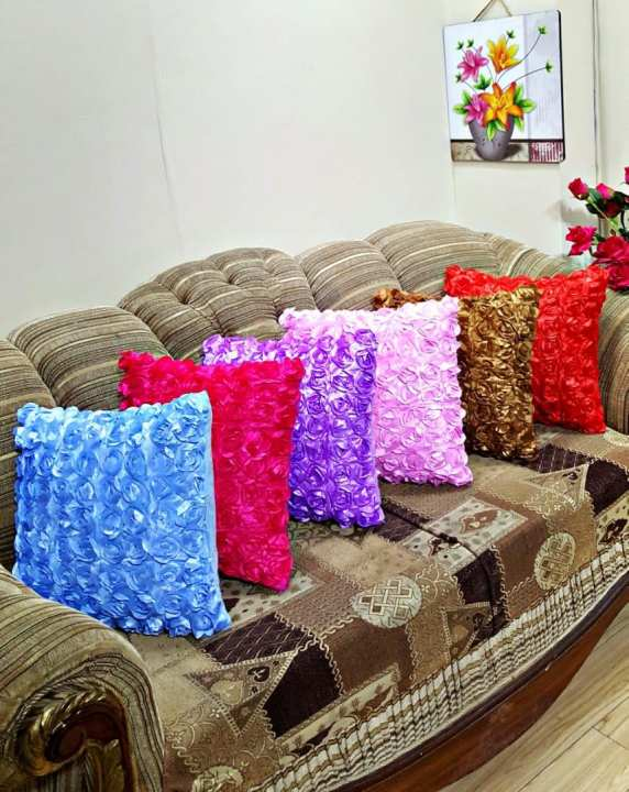 CH Taffeta Floral Squar Sahpe Decorative Cushion With Out filling ( 16 x 16 Inches)