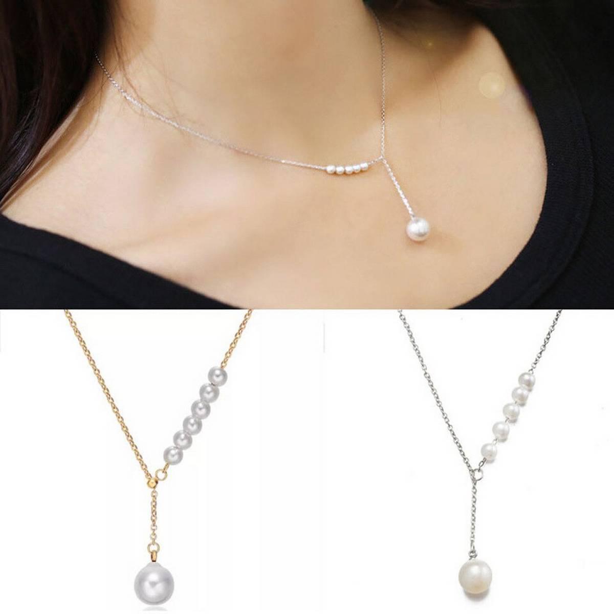 Silver/Golden Korean Temperament Sweet Imitation Pearl Necklace For Girls/Women