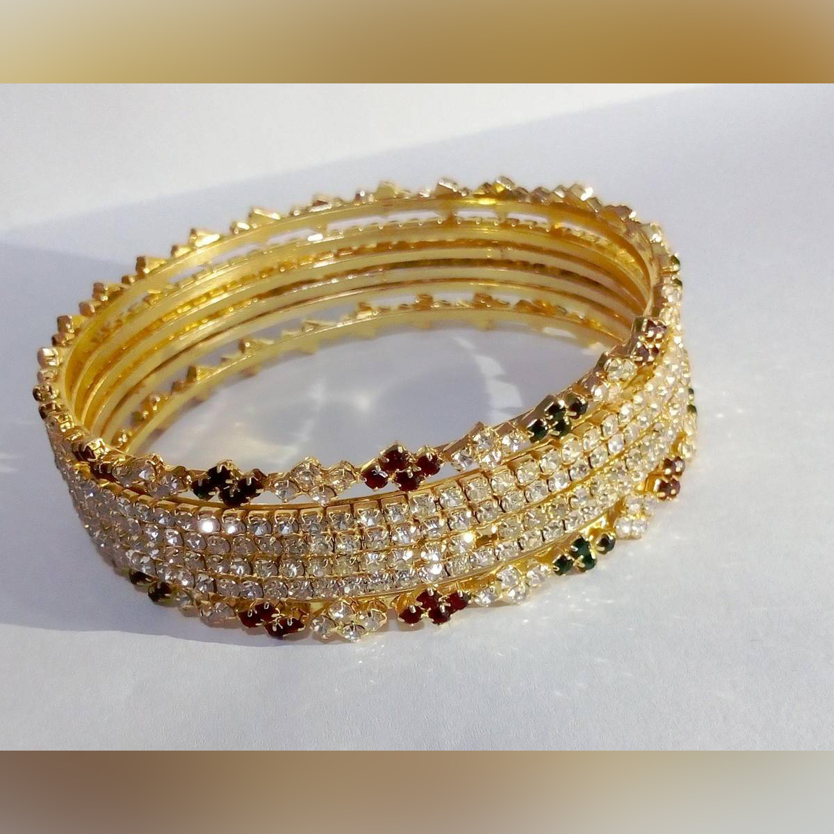 1 K Gold Plated Stone Bangles For Women
