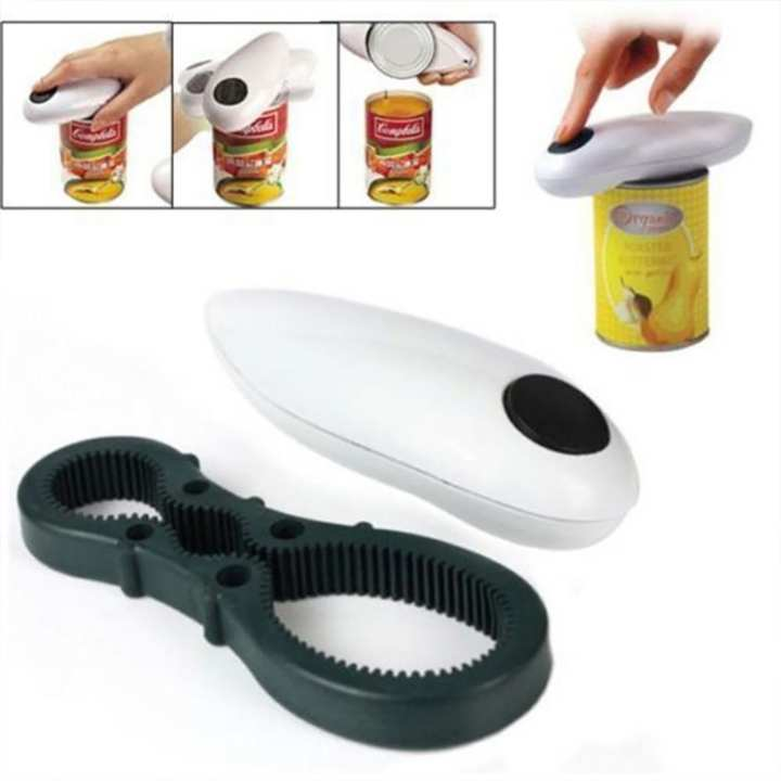 Portable One Touch Automatic Electric Can Tin Opener Wrench With Free Bottle Jar Grip Mate Opener