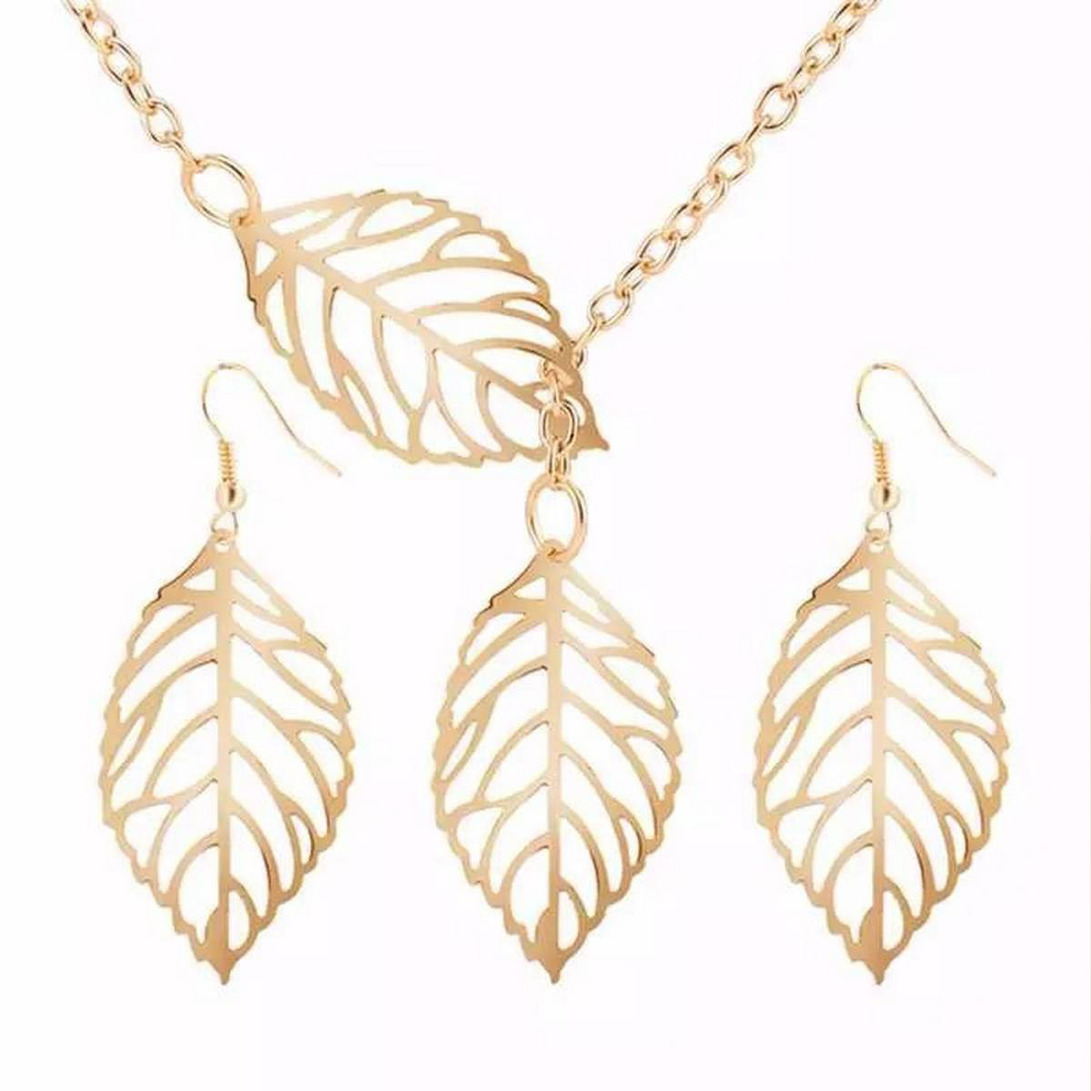 New Fashion Trend Double Leaf Golden Necklace and Earrings Set Jewelry Party Gift