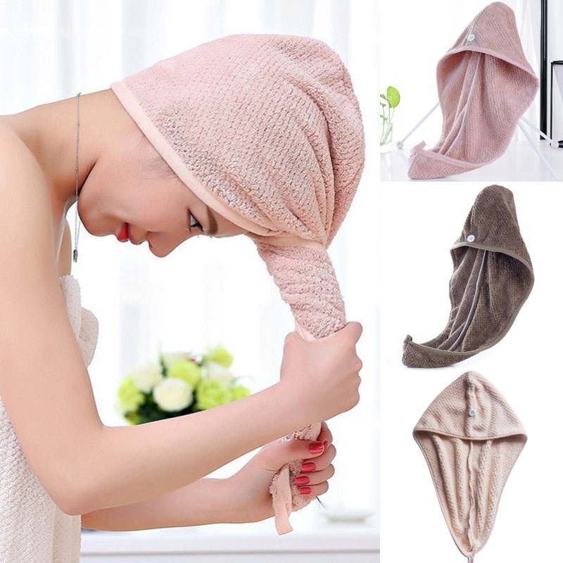 Hair Quick Fasten Drying Hair Towel Turban Turbie Twist Wrap Loop Button Hat Cap