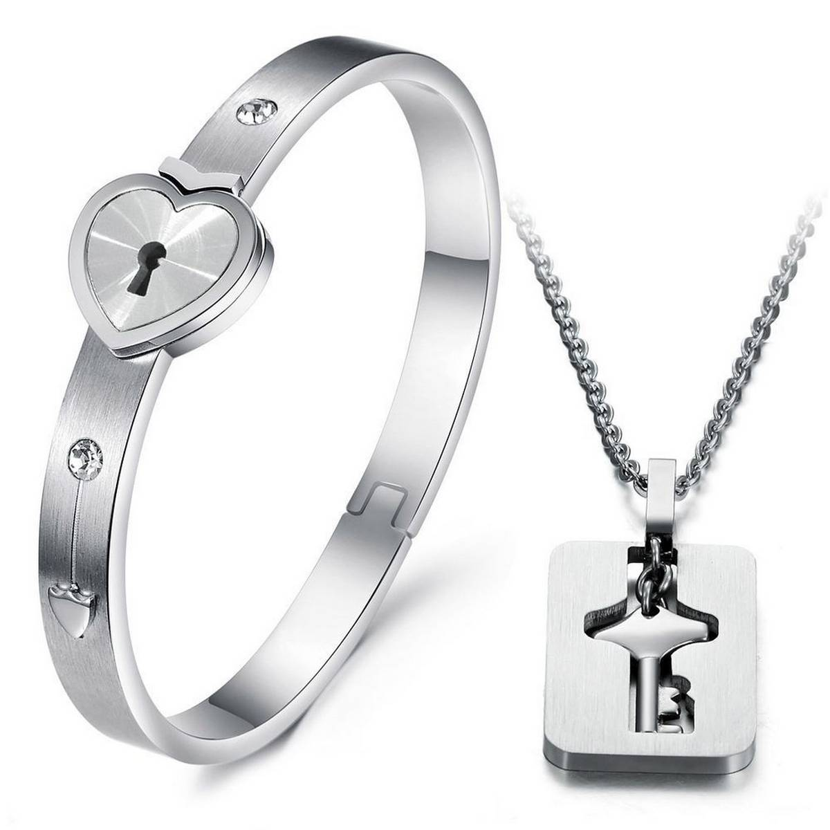 A Couple Lovers Jewelry Love Heart Lock Bracelet Stainless Jewelry-Gift-True Love Heart Lock Bracelets Bangles Key Pendant Necklace Couples
