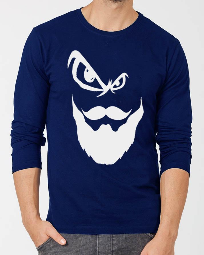 75393a35c88b Beard New Fashion Royal Blue Round Neck Best Graphic Full Sleeve T-shirt  for Men