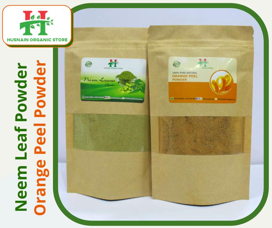 Husnain organic store   neem Leaves fine Powder 50g & Orange Peel fine powder 50g (Combo) best for skin care 100g