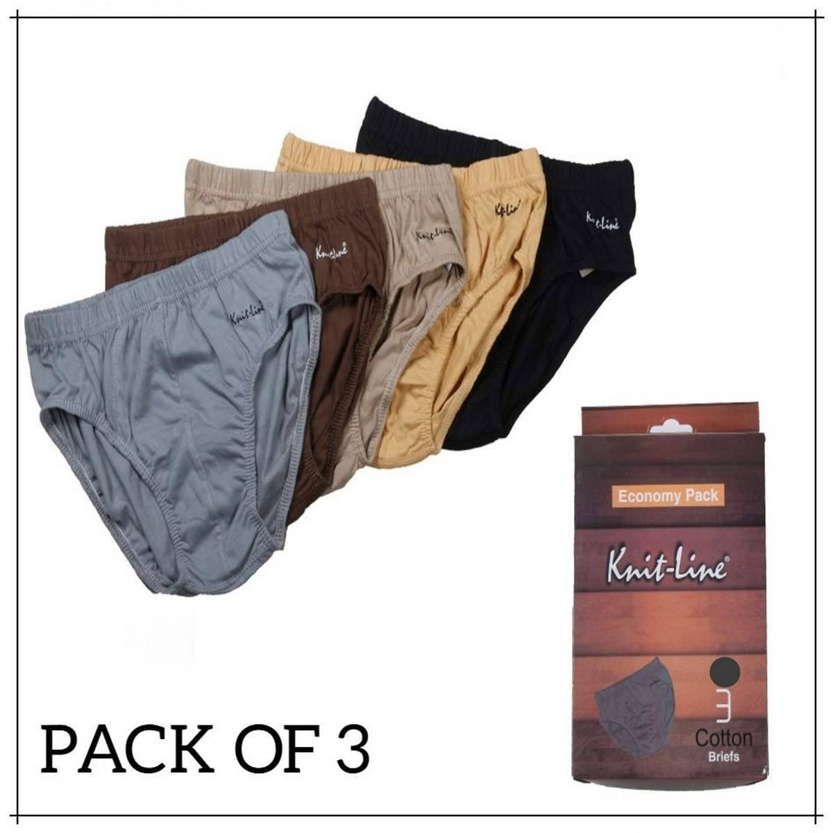 Knitline Economy Men's Underwear - Pack of 3 High Quality Cotton Knitted Men's Briefs