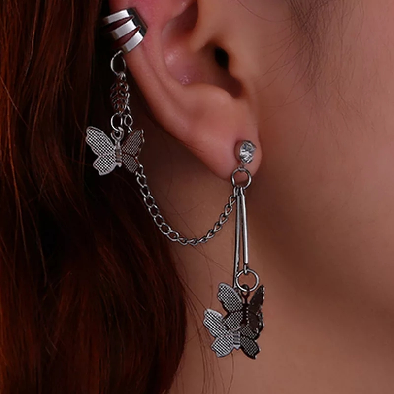 Pair of Butterfly Ear Cuff Long Dropping Pin Chain Silver Tassel Earring for Girls and Women