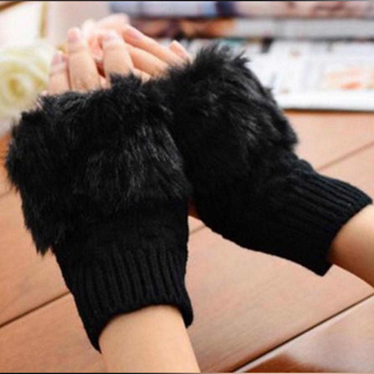 New Women Knitted Crochet Fingerless Gloves Warmer Wrist Hand Rabbit Lady Glove Mittens