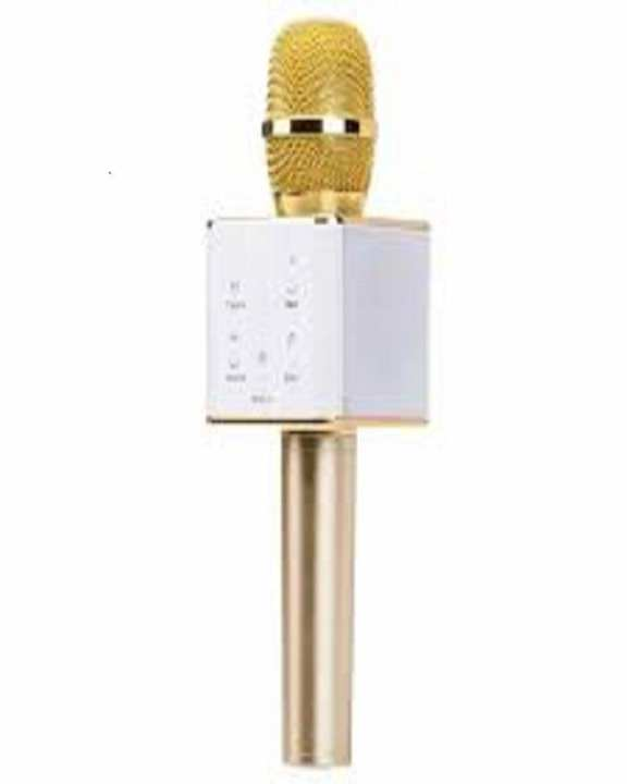 Karaoke Mic With Bluetooth Speaker - White & Gold