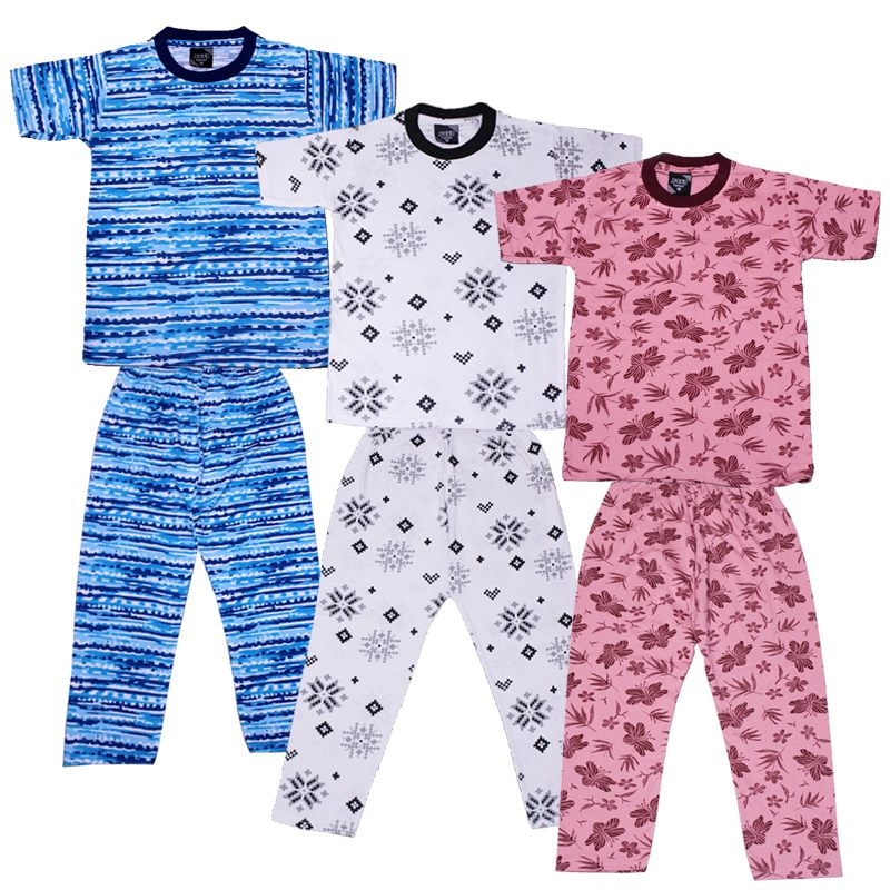 Pack of 3 - 2 Piece T-shirt & Pajama Printed Suit For Kids