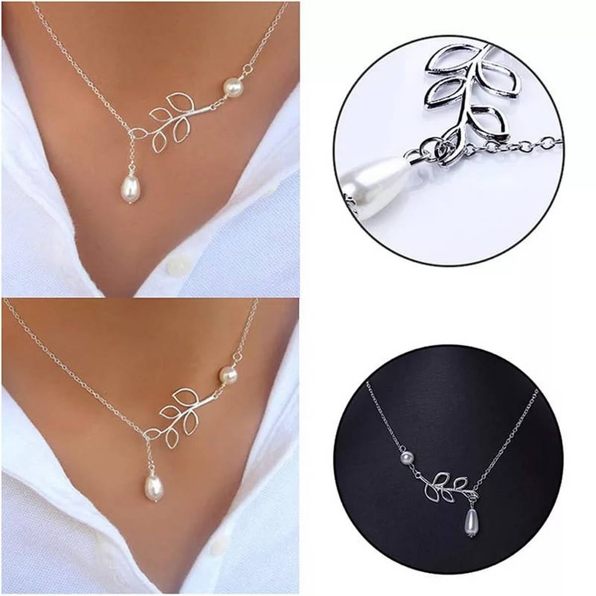 Hot Selling Luck Pearl Leaf Pendants Necklaces For Women and Girls - Fashion Jewellery Necklace