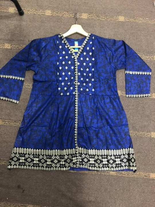 Frock Style Flowers Embroidered Kurti For Women