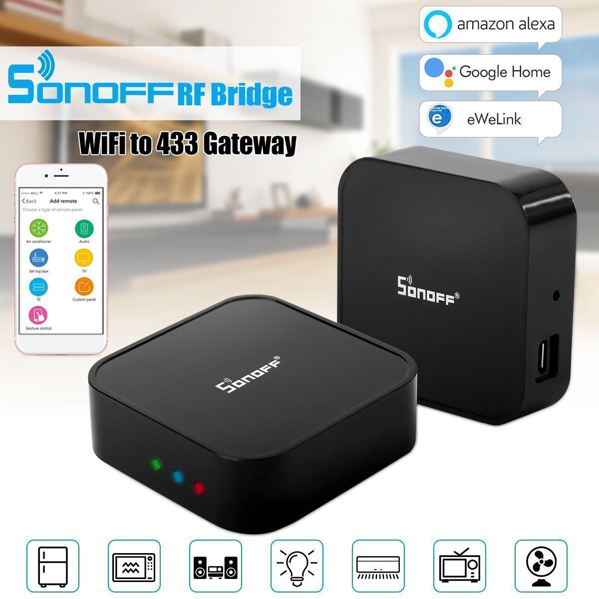 Sonoff RF Bridge 433MHz Wifi Smart Switch Voice Control App Remote  Controller