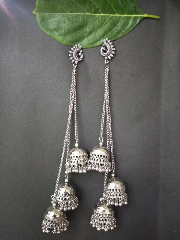 Silver color Hot Design Drop chain Jhumka Earrings for Women