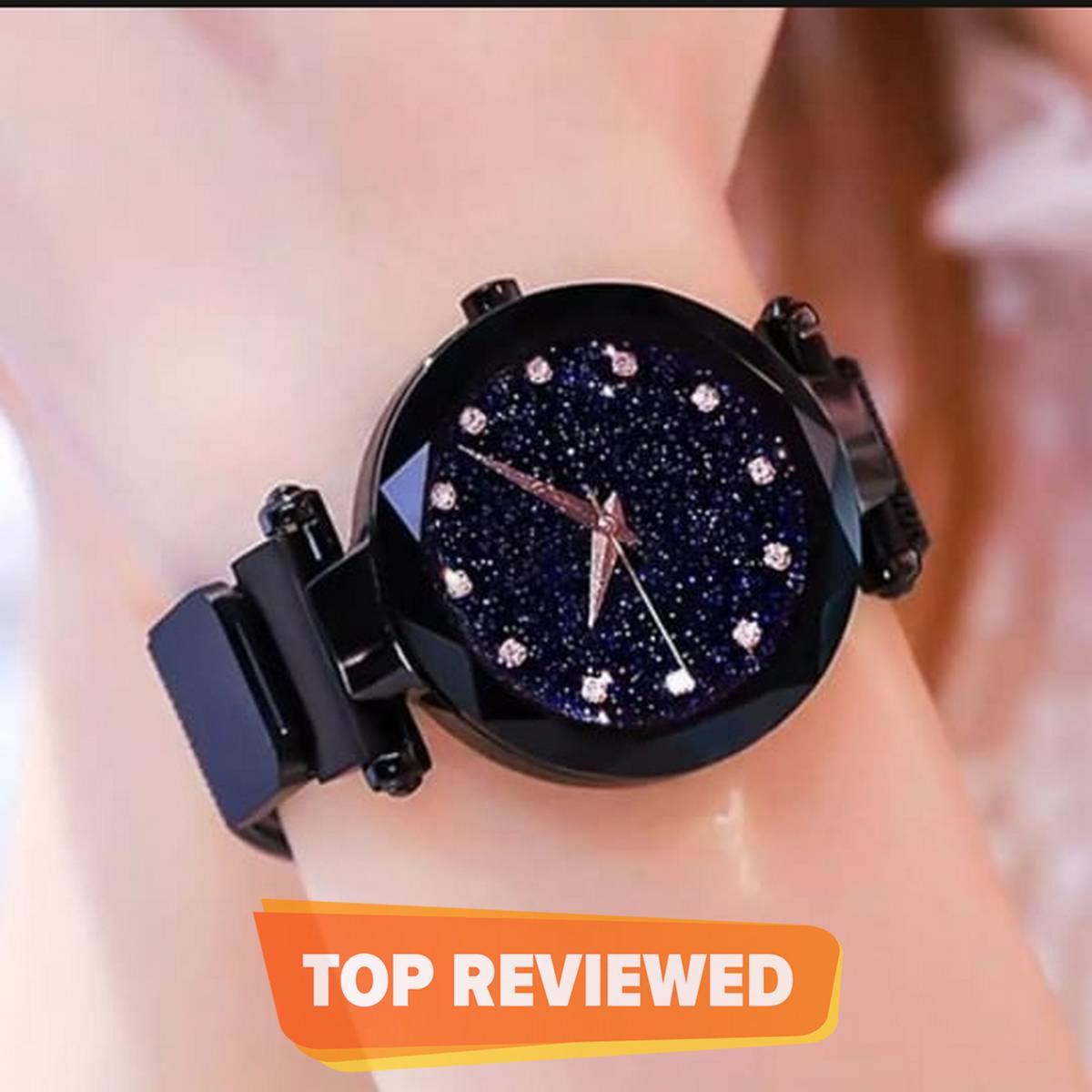 Girls Quartz Watch Magnetic Buckle Ladies Wristwatch Women Fashion Starry Sky Magnetic Mesh Steel Strap Chain Girl Clock Waches