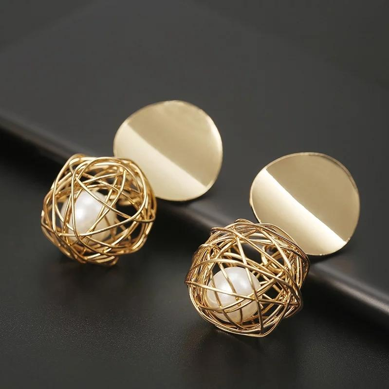 Fashion Stud Earrings For Women Golden Color Round Ball Geometric Earrings For Party Wedding Gift Ear