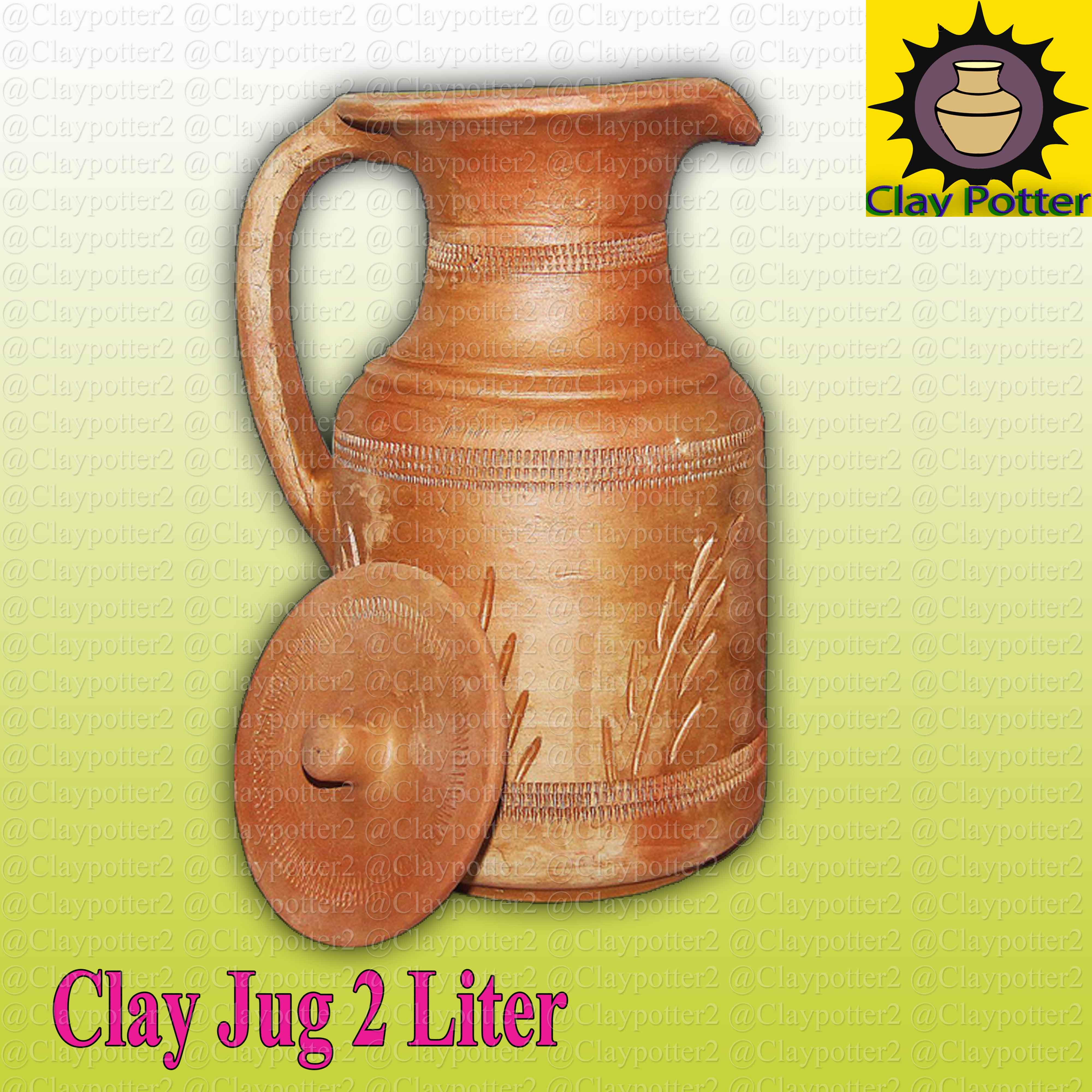 Clay Jug with Cap Plus 2 Piece Glass Offer Handmade Natural Clay Cold Water Size Mention Clay Potter