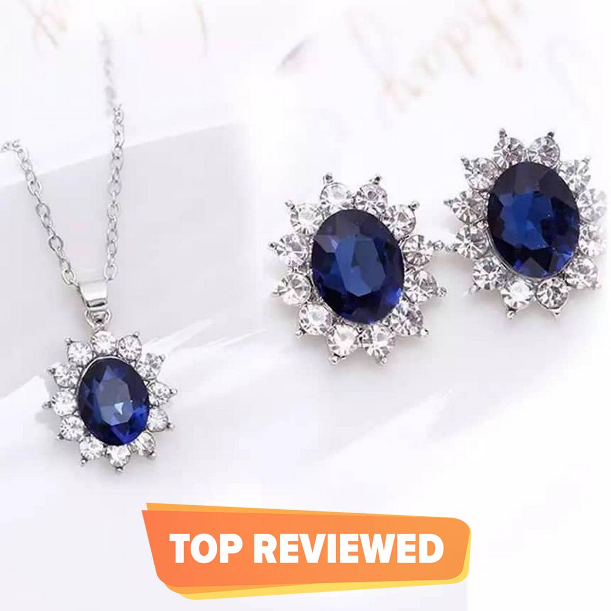 Royal Blue Stone Jewelry Set For Women & Girls - Silver