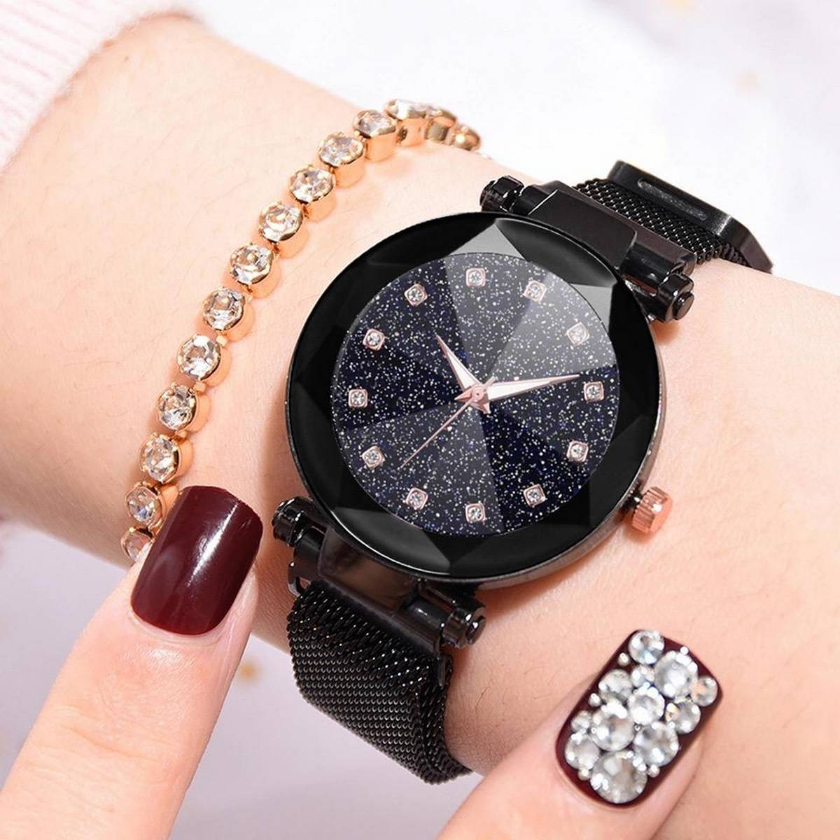 Women Mesh Magnet Buckle Starry Sky Luxury Fashion Quartz Watch/Wristwatch - 2021 Model - Magnetic Strip -  College/Office Girls