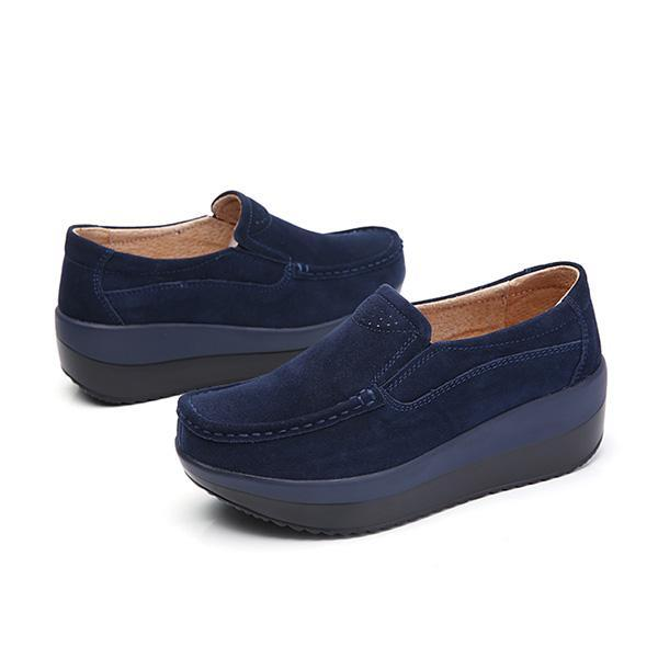 cc3ae21ae73 Product details of Fashion Women Large Size Rocker Sole Suede Slip On  Casual Wedges Shoes