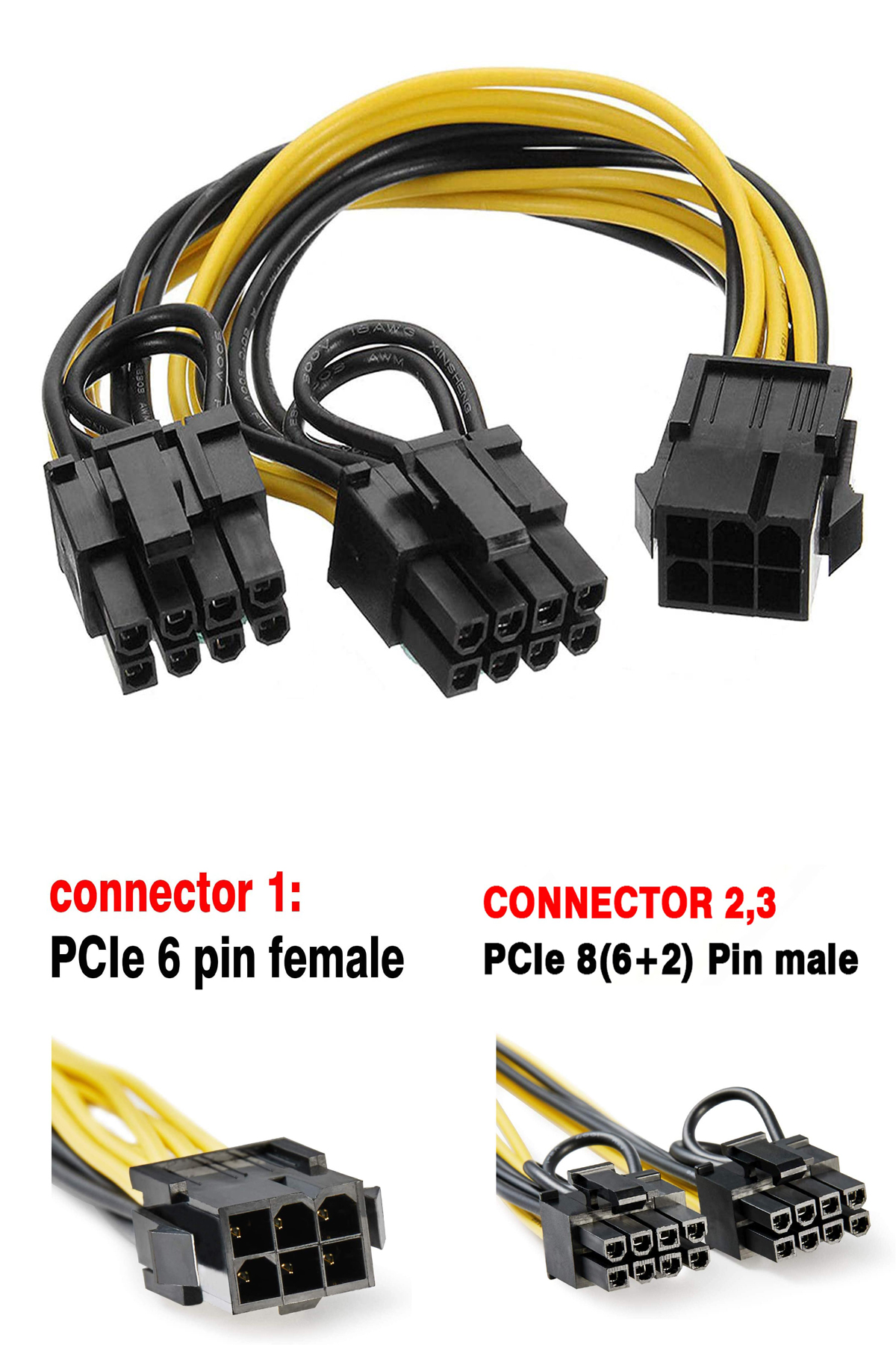 6 Pin to Dual 8 (6+2) Pin PCIe Adapter Power Cables, 6 Pin to Dual PCIe 8 Pin Graphics Card PCI Express Power Adapter GPU VGA Y-Splitter Extension Cords Mining Video Card Converter Cable (1Pack/20cm)